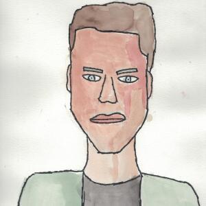 Contour Line Portrait (Watercolor) - Eric