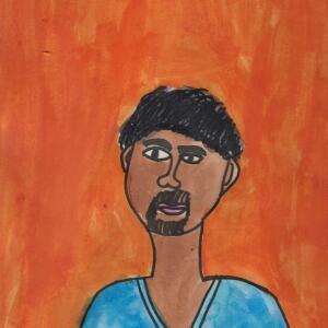 Contour Line Portrait (Watercolor) - Gabriel