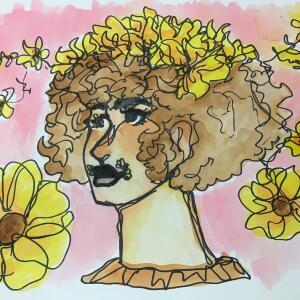 Contour Line Portrait (Watercolor) - Gema