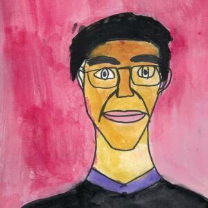 Contour Line Portrait (Watercolor) - Giselle