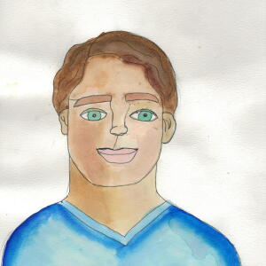 Contour Line Portrait (Watercolor) - Green