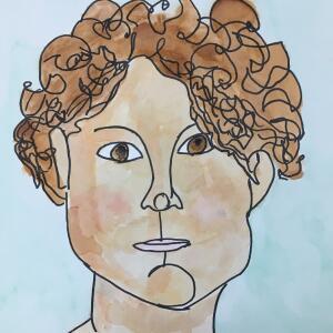 Contour Line Portrait (Watercolor) - Helen