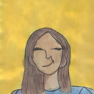 Contour Line Portrait (Watercolor) - Karina