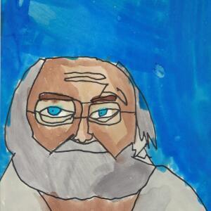 Contour Line Portrait (Watercolor) - Leonardo