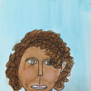Contour Line Portrait (Watercolor) - Mariam