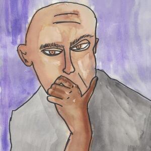 Contour Line Portrait (Watercolor) - Miguel