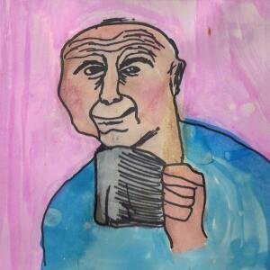 Contour Line Portrait (Watercolor) - Roman