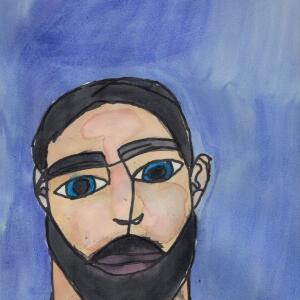 Contour Line Portrait (Watercolor) - Ryley