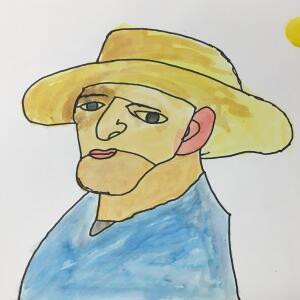 Contour Line Portrait (Watercolor) - Santiago