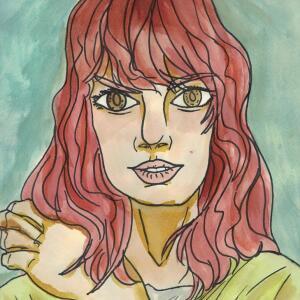 Contour Line Portrait (Watercolor) - Sarahi