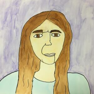 Contour Line Portrait (Watercolor) - Veronica