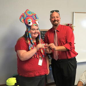 Crazy Hat Day - 2nd Place (tie), Mrs. Andert