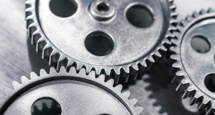 Three silver small metal gears