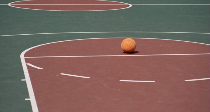 Basketball on free throw line
