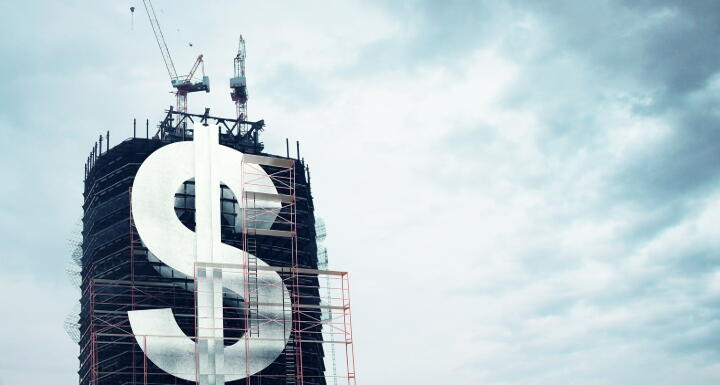 A dollar sign on building under construction