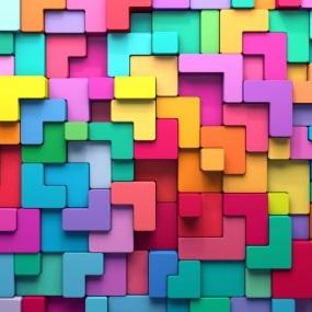 multicolored tetris-like blocks