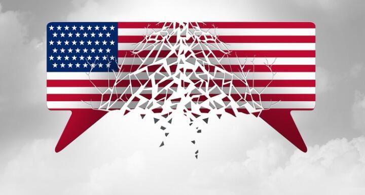 Disintegrating speech bubbles as US flags