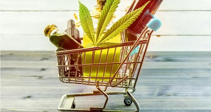 CDB products and hemp leaf in small shopping cart