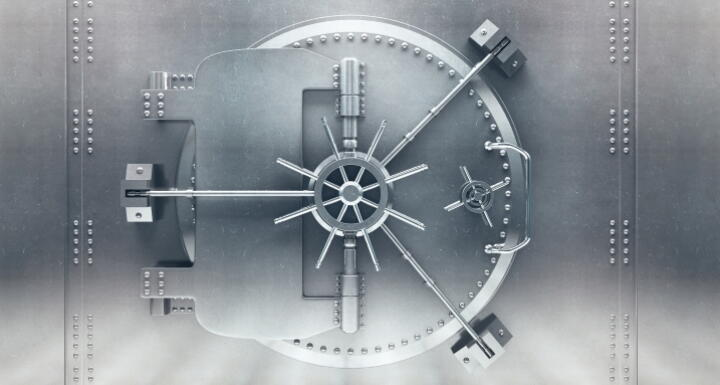 Closed silver bank vault