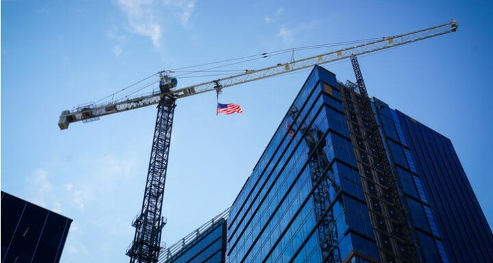 Construction Crane and American Flag