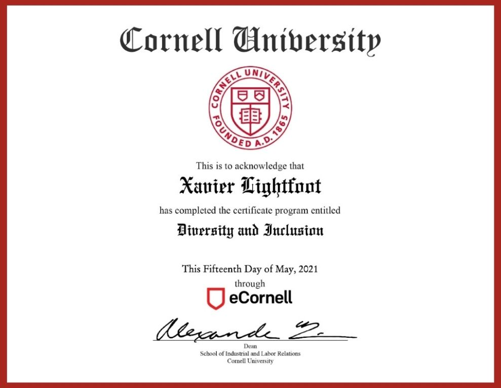 Diversity and Inclusion Certificate from Cornell University