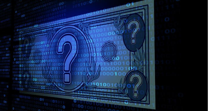Illustration of digital cryptocurrency with dollar bill and question marks on a black background
