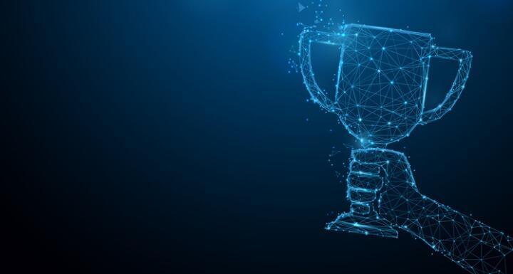 Digital hand holding up a digital trophy