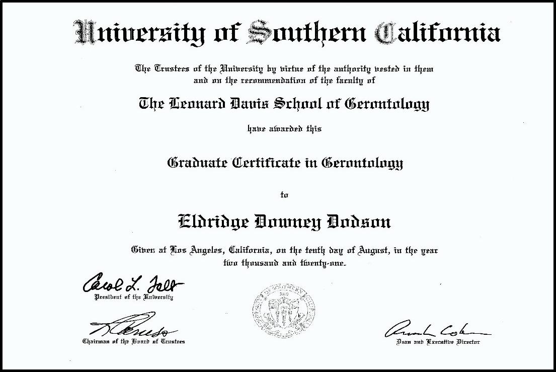 Eldridge Dodson USC Gerontology Certificate