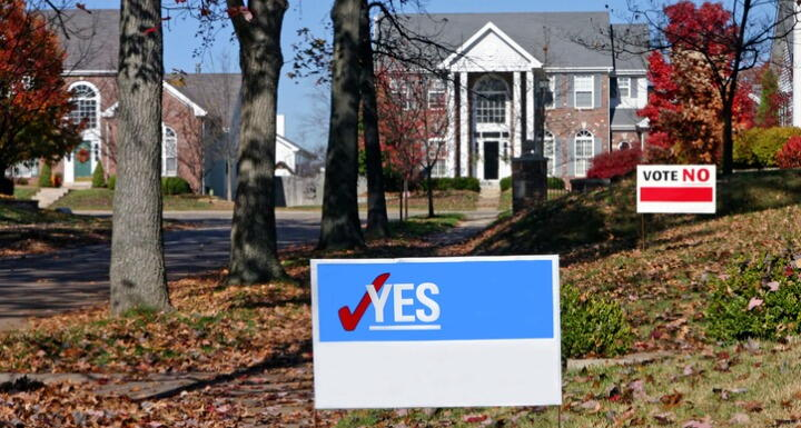 A landscape showing political signs in neighborhood yards