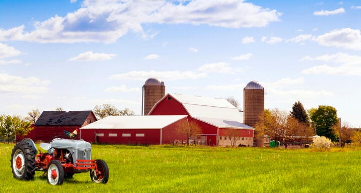 Barn and tractor on a farm