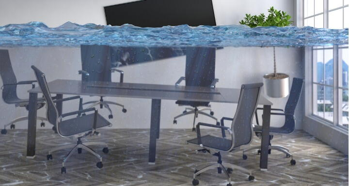 Office conference room table and chairs under water