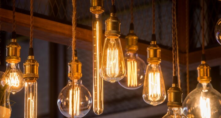 Hanging incandescent lightbulbs
