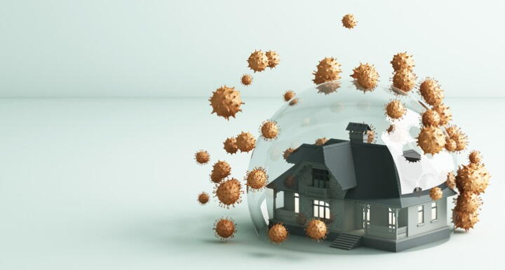 A toy house under a glass dome with small prickly spheres representing the covid virus on the outside of the dome