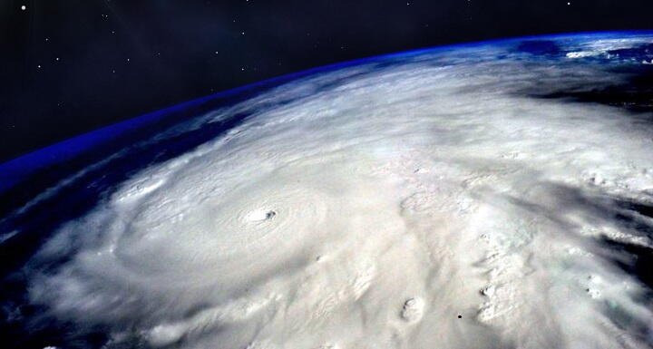 Spot of hurricane from space
