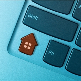 A keyword with a red house button