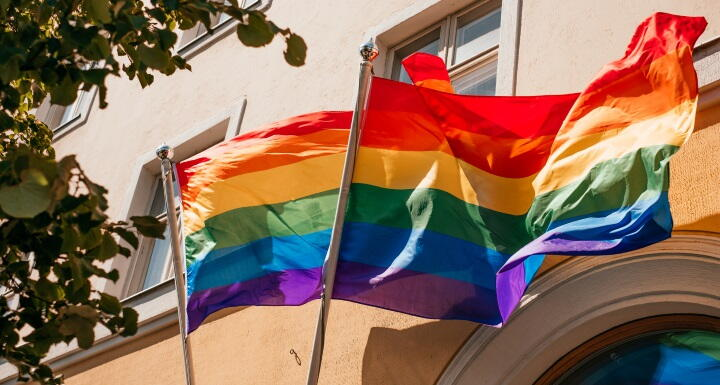 LBTQ+ flags flying in front of a business