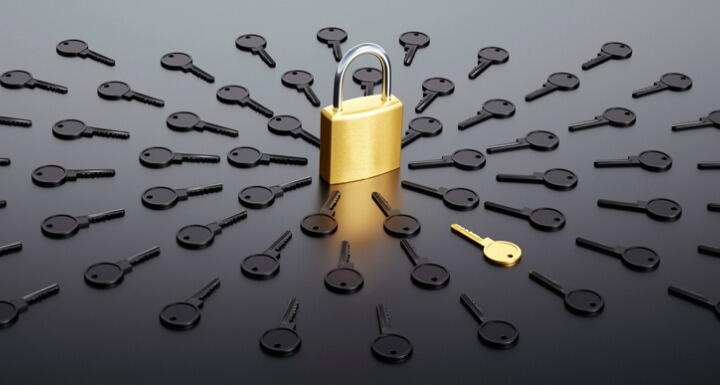 Locked padlock surrounded by a group of black keys with one golden key