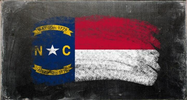 North Carolina flag drawn in chalk on chalkboard