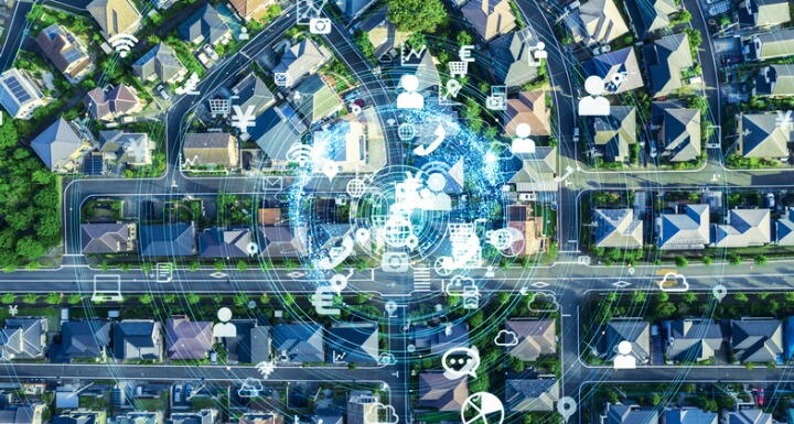 Top shot of a neighborhood connected digitally