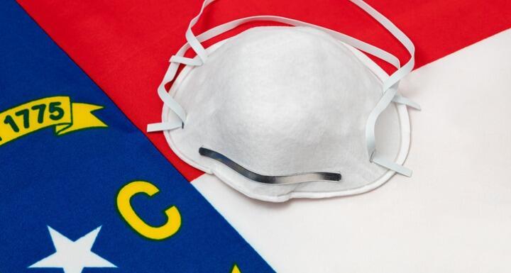 Mask setting on top of North Carolina Flag