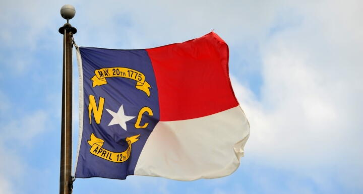 North Carolina Flag blowing in wind