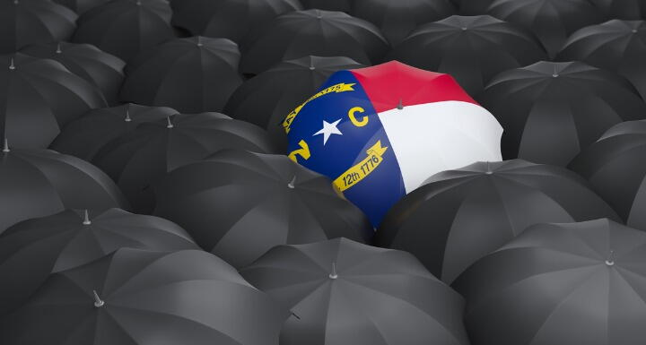 North Carolina Flag as umbrella surrounding by black umbrellas