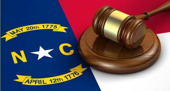 North Carolina flag with gavel