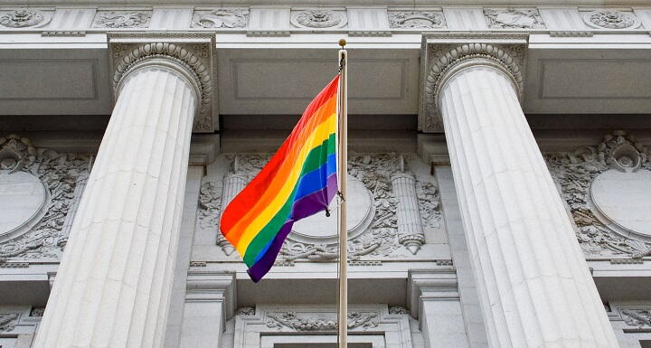 Pride Flag flying at city hall