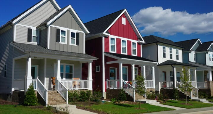 Red and Gray Row Houses in Suburbia