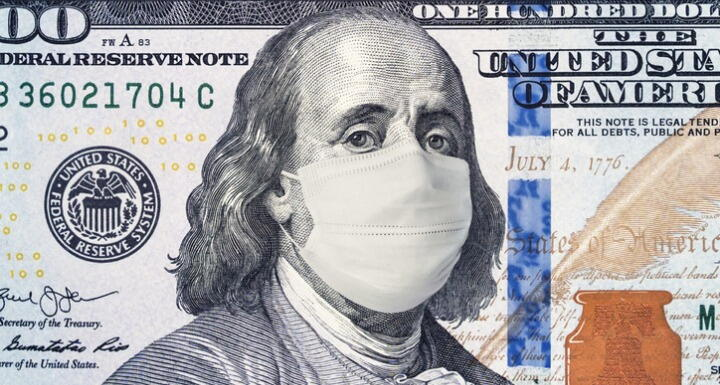 Illustration of a hundred dollar bill with Ben Franklin wearing a medical mask in response to COVID-19
