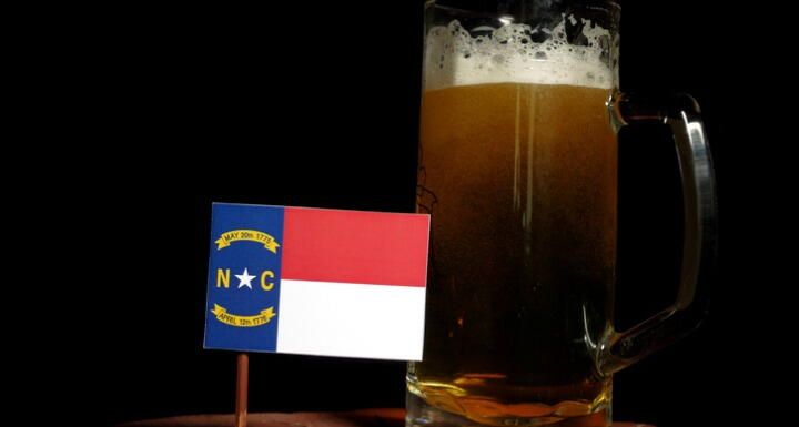 Small NC Flag with Glass of beer