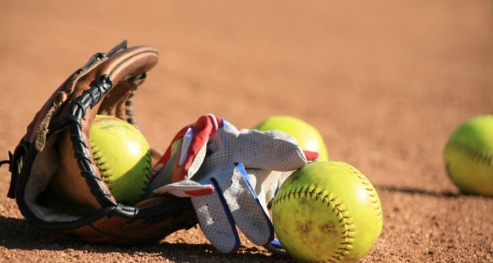 Softball Baseball balls and batters glove