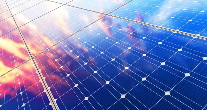Solar panels reflecting sunlight