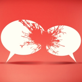 Two damaged white speech bubbles